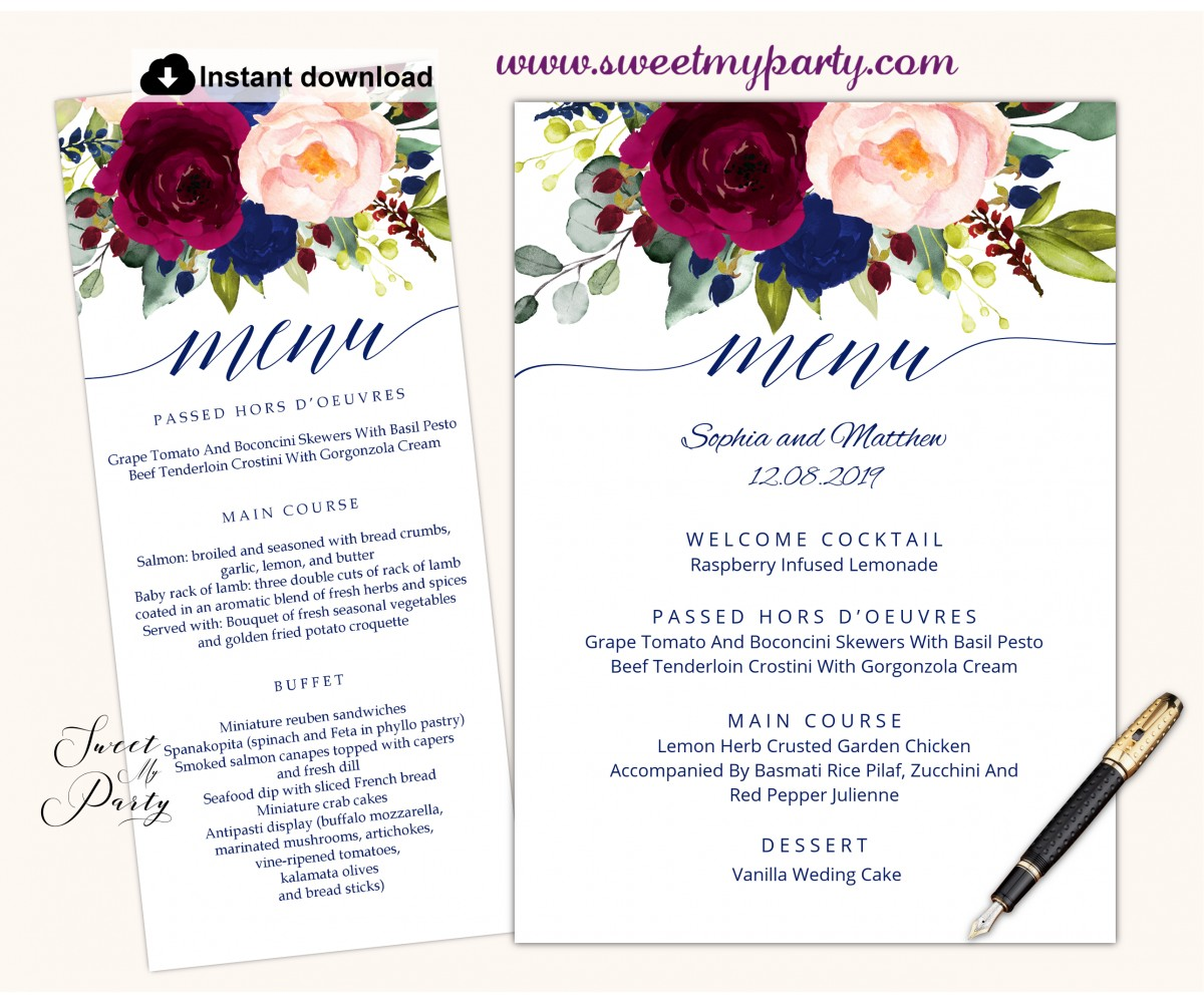 Burgundy blush navy menu cards printable template,(151)