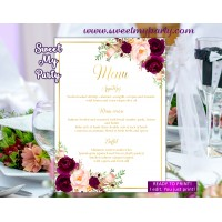 Burgundy Menu cards,Marsala menu cards,(61cw)