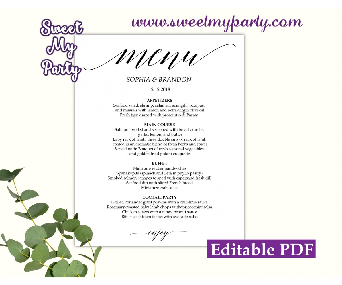 Calligraphy menu cards template, Modern menu card template, (27a)