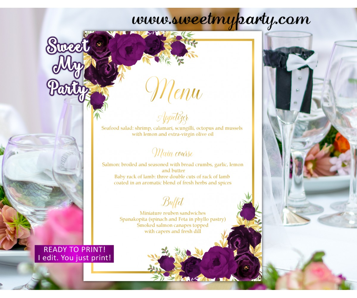 Eggplant Menu cards, Eggplant gold menu card(19w)