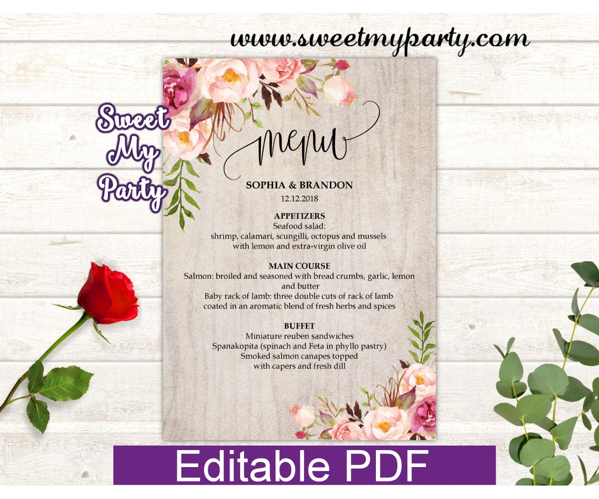 Boho menu cards template, Floral menu card template, (31)