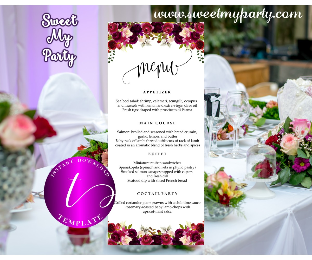 Floral burgundy Menu tea length template,Burgundy restaurant menu,(032w)