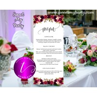 Floral burgundy Wedding Menu tea length template,Burgundy restaurant menu,(032w)