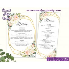 Geometric menu card template,Floral menu card template, (128)