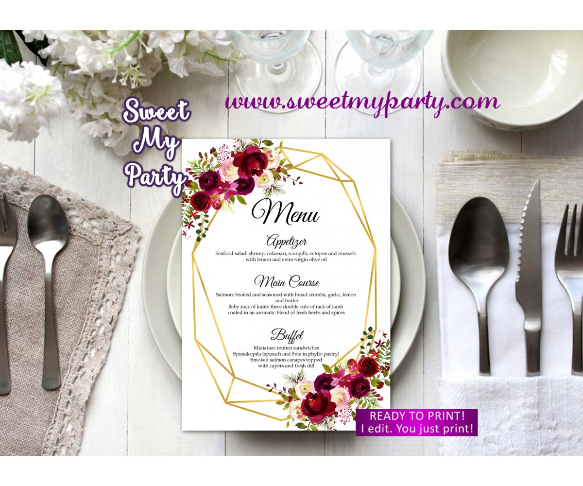 Geometric Menu card printable,Burgundy menu card prinable,(116w)