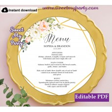 Geometric round menu card template,Floral round menu card template, (128)