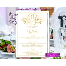Gold Wedding Menu with Monogram,gold wedding menu,(112w)