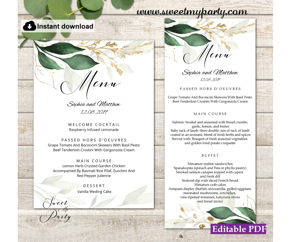 Greenery menu card printable template,Gold menus,(148w)