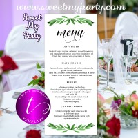 Greenery Wedding Menu tea length template,Greenery restaurant menu,050w