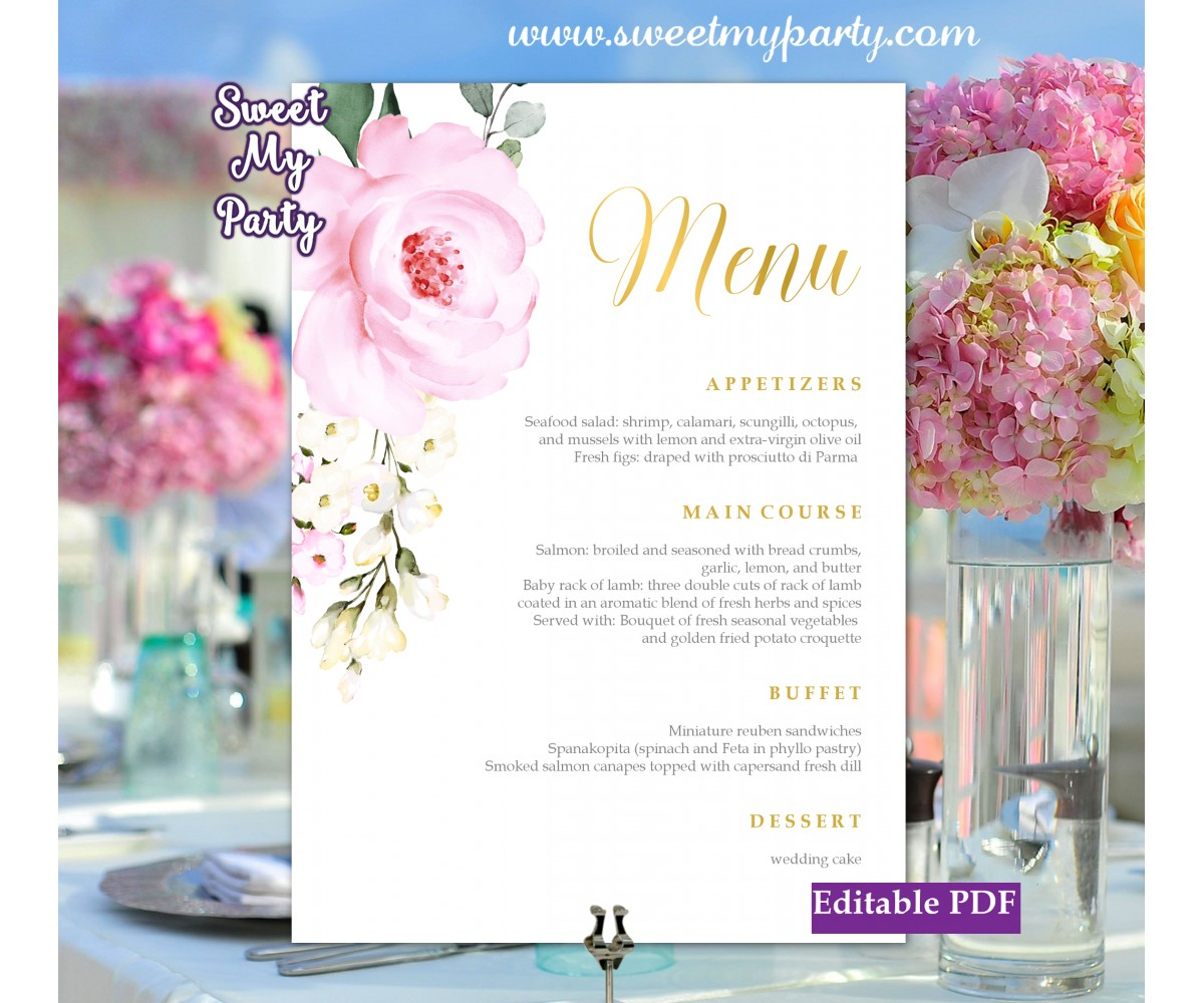 Cream pink roses menu cards printable template, (135)