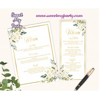 Ivory Roses Menu Card, Cream Roses Menu Card,(123b)