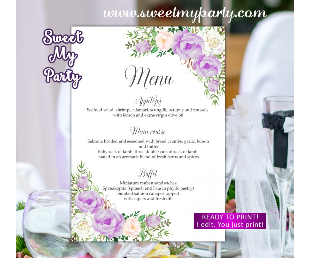 Lavender Wedding Menu card,Lilac Menu card, (106aw)