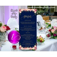Floral Navy Wedding Menu tea length template,Restaurant menu card printable,(055w)