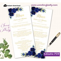 Navy Blue flowers menu card printable template,Gold menus,(39w)