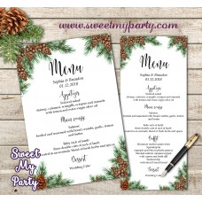 Pine Cone Menu card, Winter Wedding Menu card,(119w)