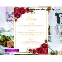Red roses menu card, Red flower menu card,(16w)