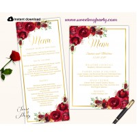 Red roses menu card, Red flower menu card,(16)