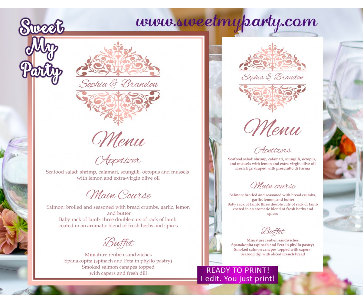 photograph relating to Menu Printable named Rose gold menu playing cards printable,Rose gold wedding ceremony menu,(114)