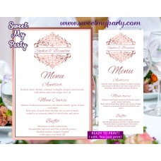 Rose gold menu cards printable,Rose gold wedding menu,(114)
