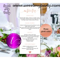 Rose Wedding Menu tea length template printable,Rose gold restaurant menu, 041w