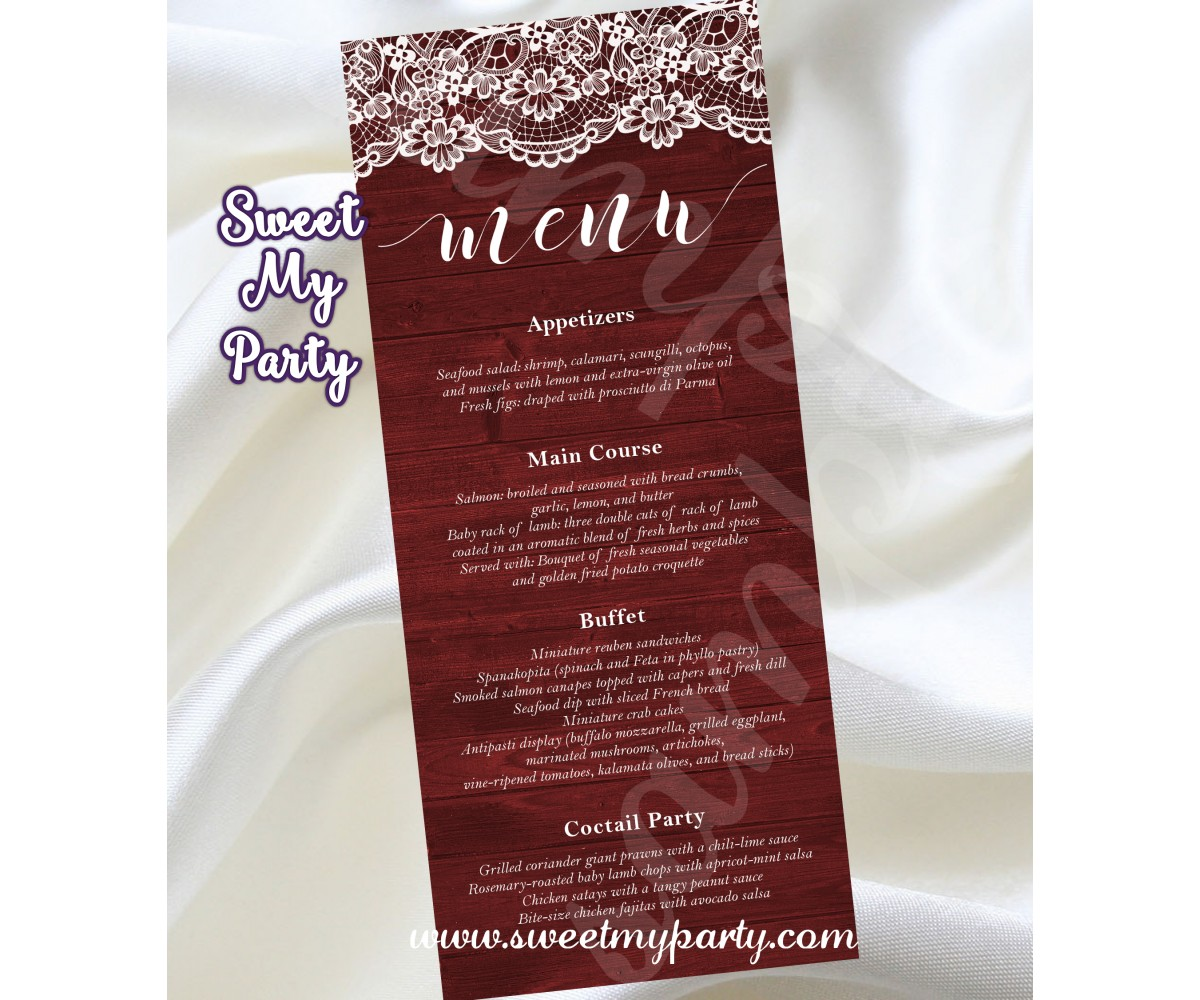 Rustic Wedding Menu card tea length,Wood Lace wedding Menu card tea length,(017w)