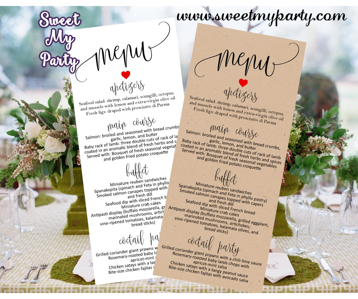 Rustic Wedding Menu card tea length printable,(024w)
