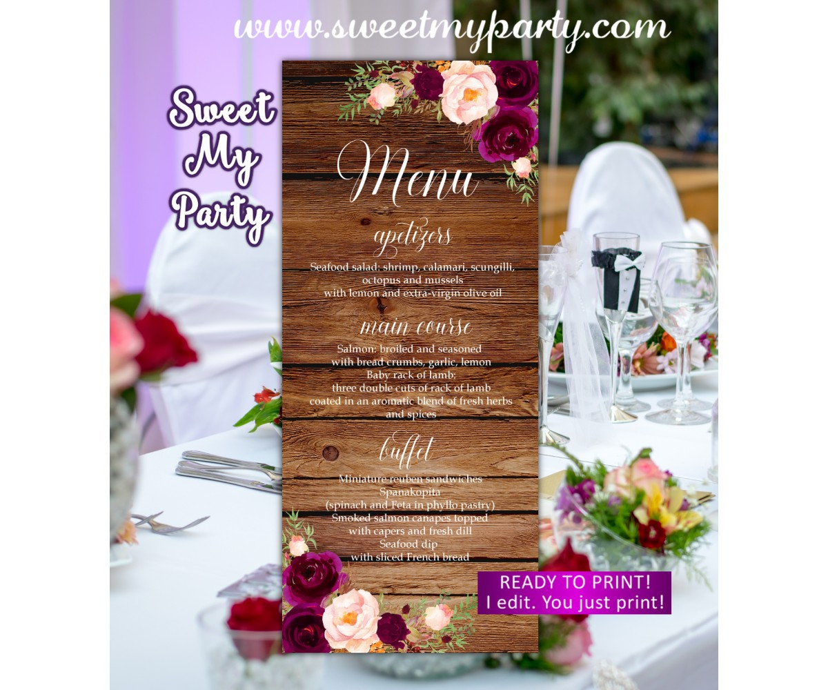 Rustic Wedding Menu card, Burgundy Menu card, (93w)