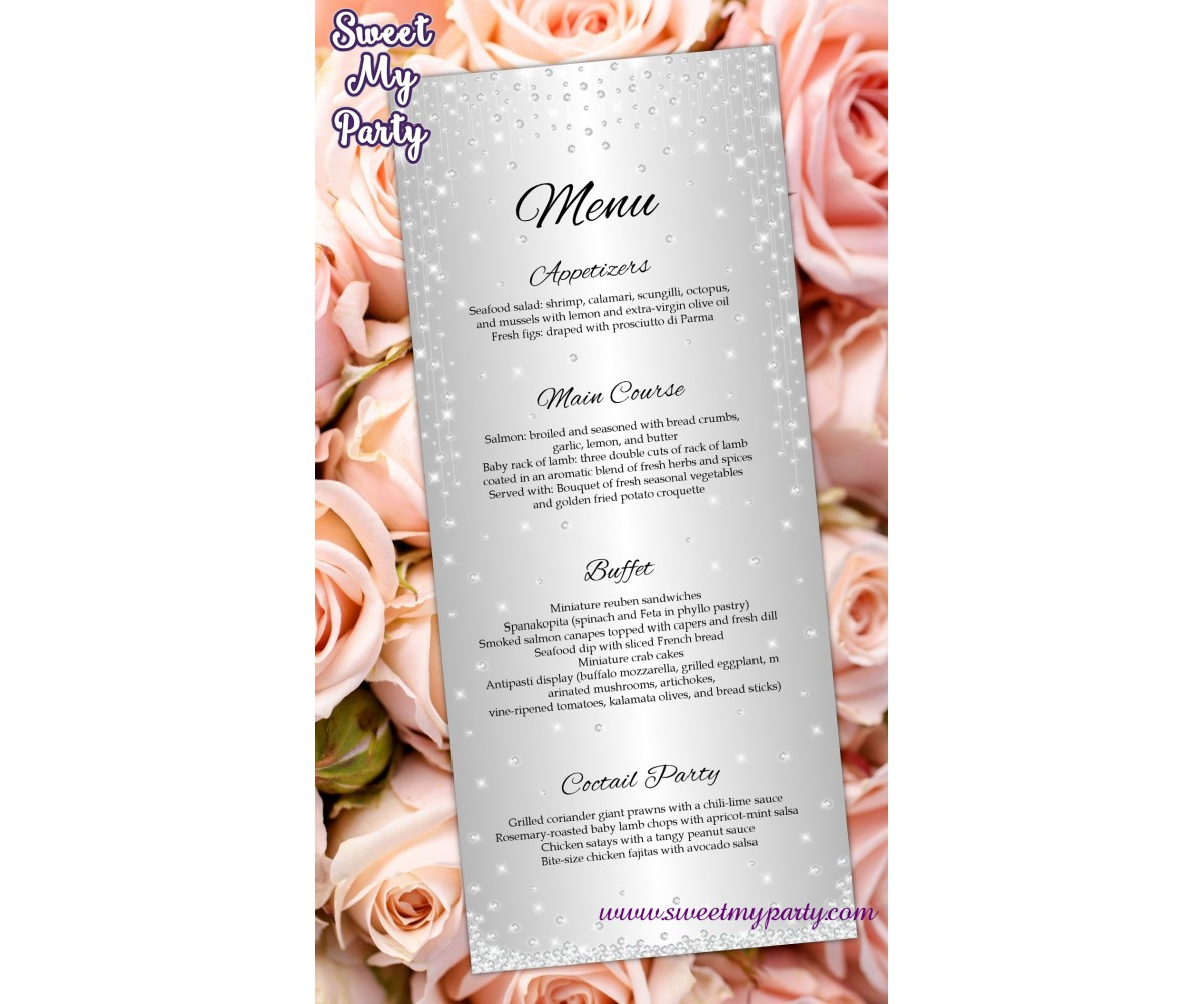 Silver Diamonds Wedding Menu cards tea length,Glitter Sparkle Wedding Menu cards tea length,(015w)
