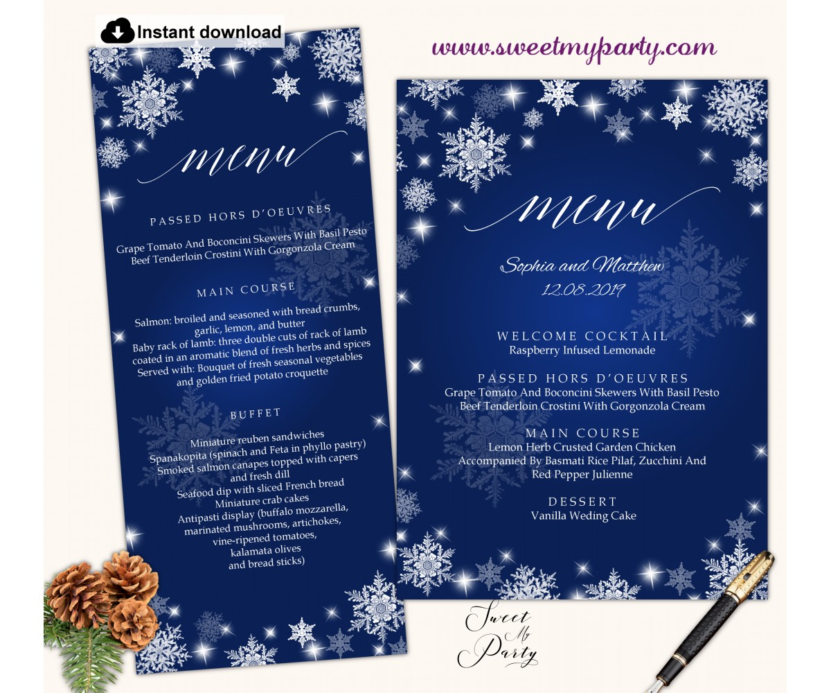 Snowflakes menu card printable template,Winter wedding menu card,(152w)