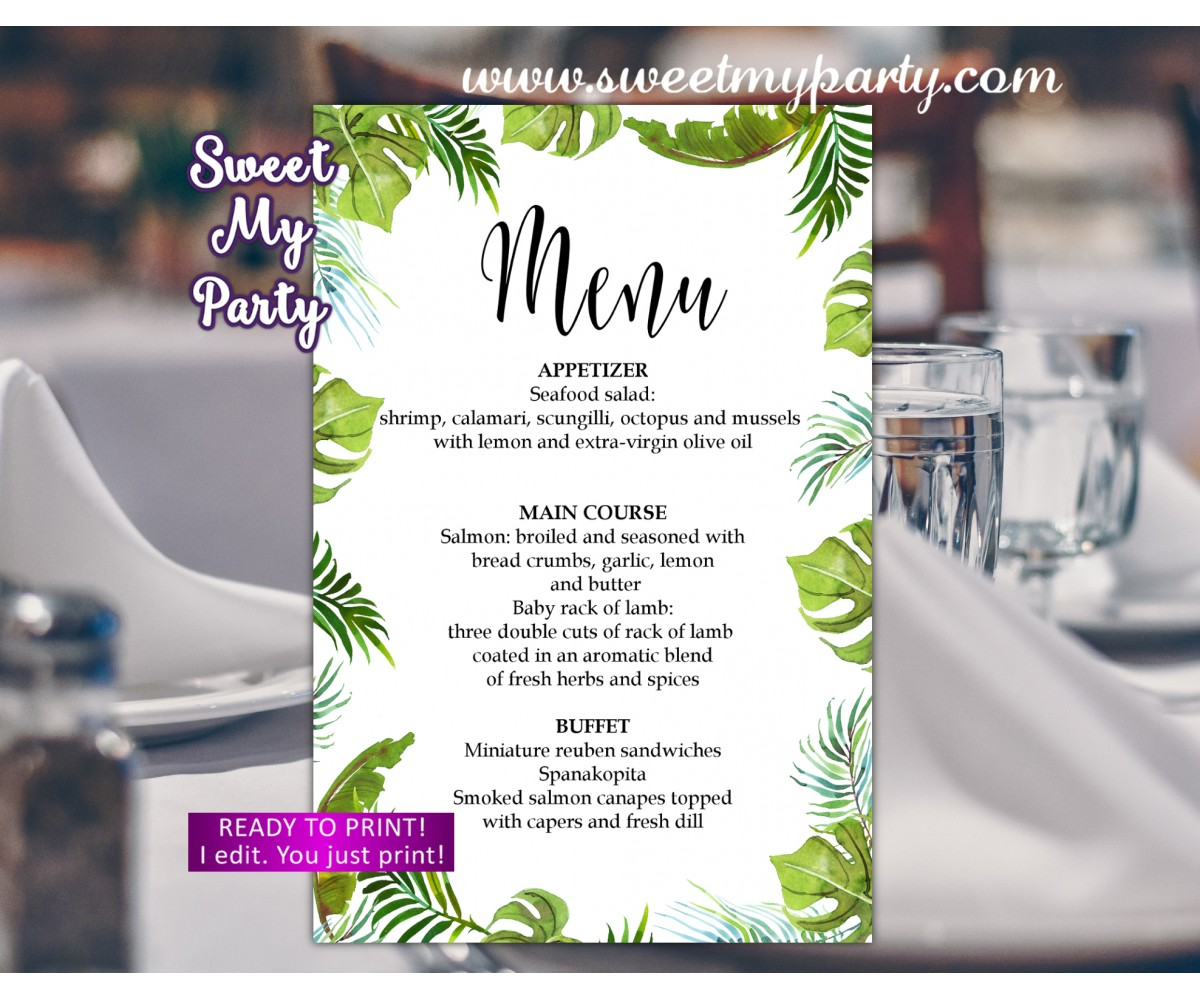Tropical Menu card printable,Greenery menu card printable,(113w)
