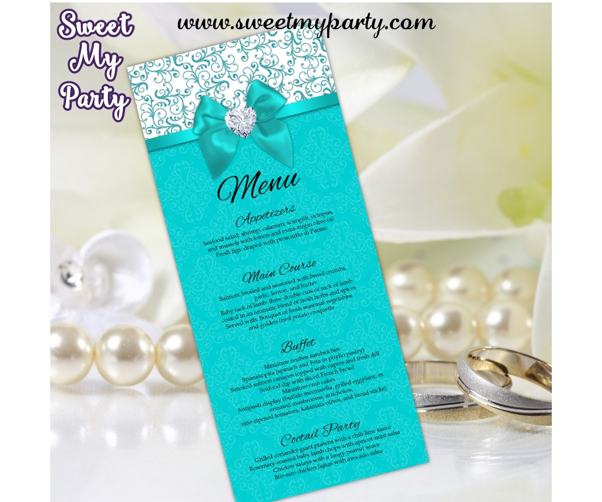 Turquoise Diamonds Wedding Menu tea length,(006bw)