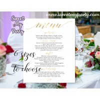 Gold Wedding Menu, Gold restaurant menu, (27w)