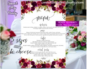 Floral burgundy Wedding Menu card, Purple wedding menu card,(032w)