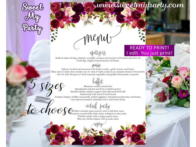 Floral Burgundy Wedding Menu Card Purple Card032w