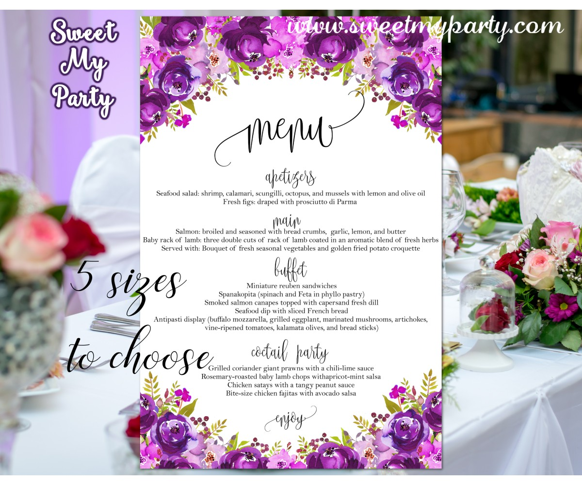 Purple Wedding Menu card,Pink wedding menu card,(033w)