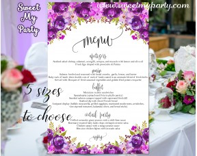 Floral Wedding Menu card, Purple wedding menu card,(033w)