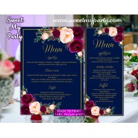 Burgundy Menu cards,Marsala navy menu cards,(84w)