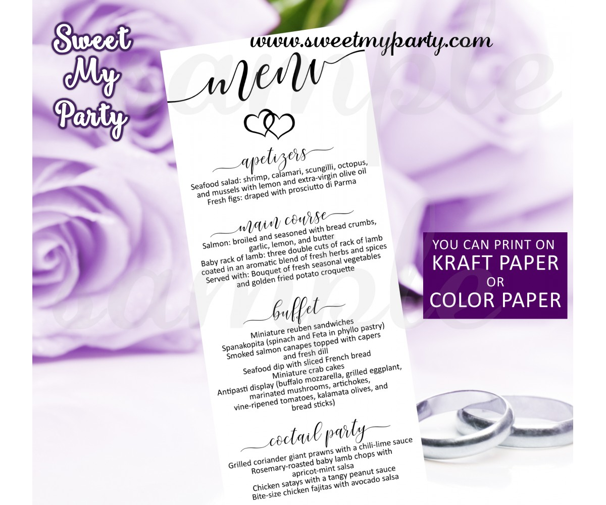 Rustic Wedding Menu card tea length,Modern wedding menu card,(022w)
