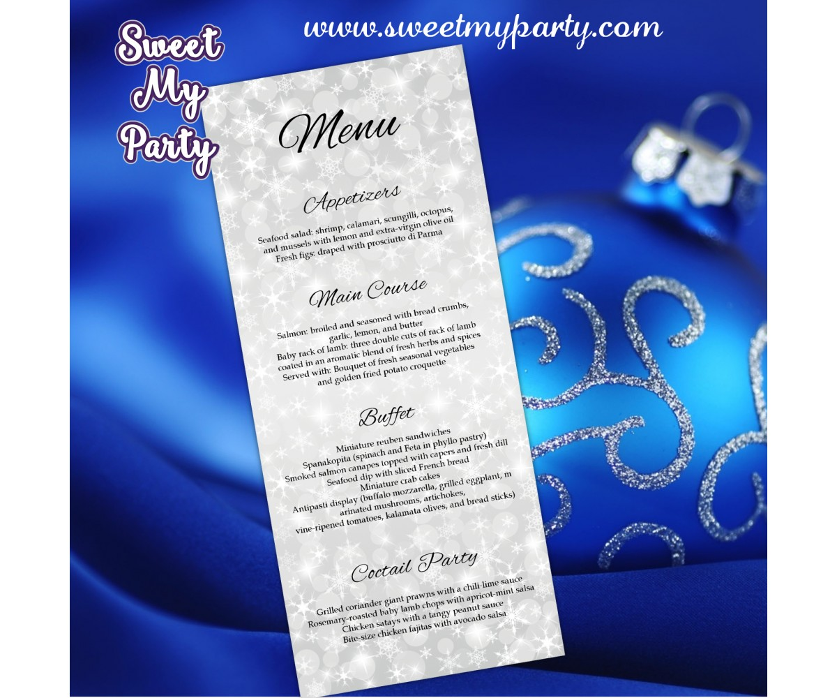 Winter Wedding Menu tea length,Silver Snowflakes Wedding Menu card tea length,(5)