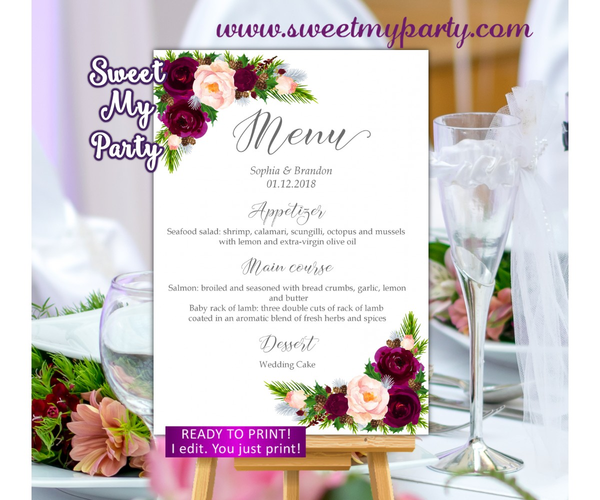 Winter Wedding Menu card,Burgundy wedding menu card,(118W)