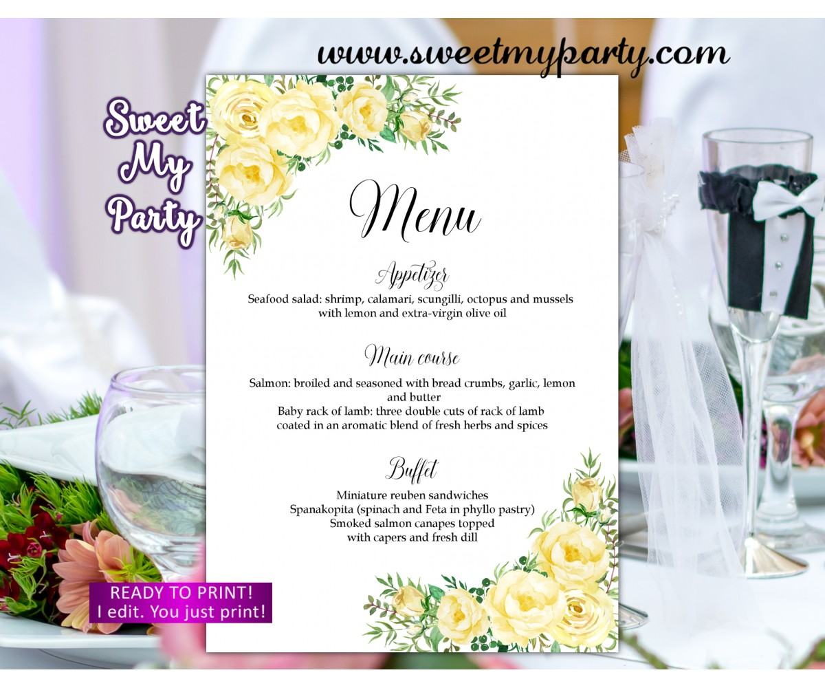 Yellow flowers Wedding Menu, Yellow Flowers Menu card,(110w)