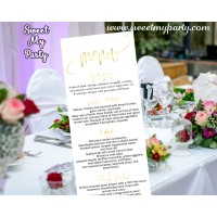 Wedding gold Menu card tea length,Gold Wedding Menu cards,(025w)