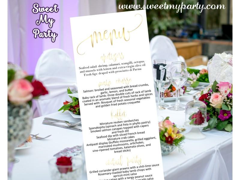 Wedding Gold Menu Card Tea LengthGold Cards025w