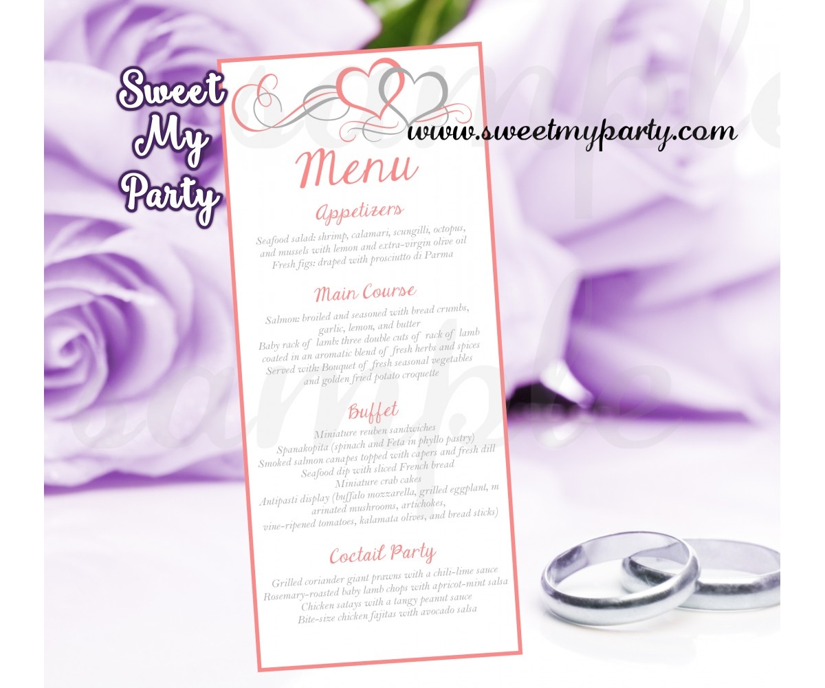 Hearts Wedding Menu card tea length,Coral Hearts wedding Menu cards,(018w)