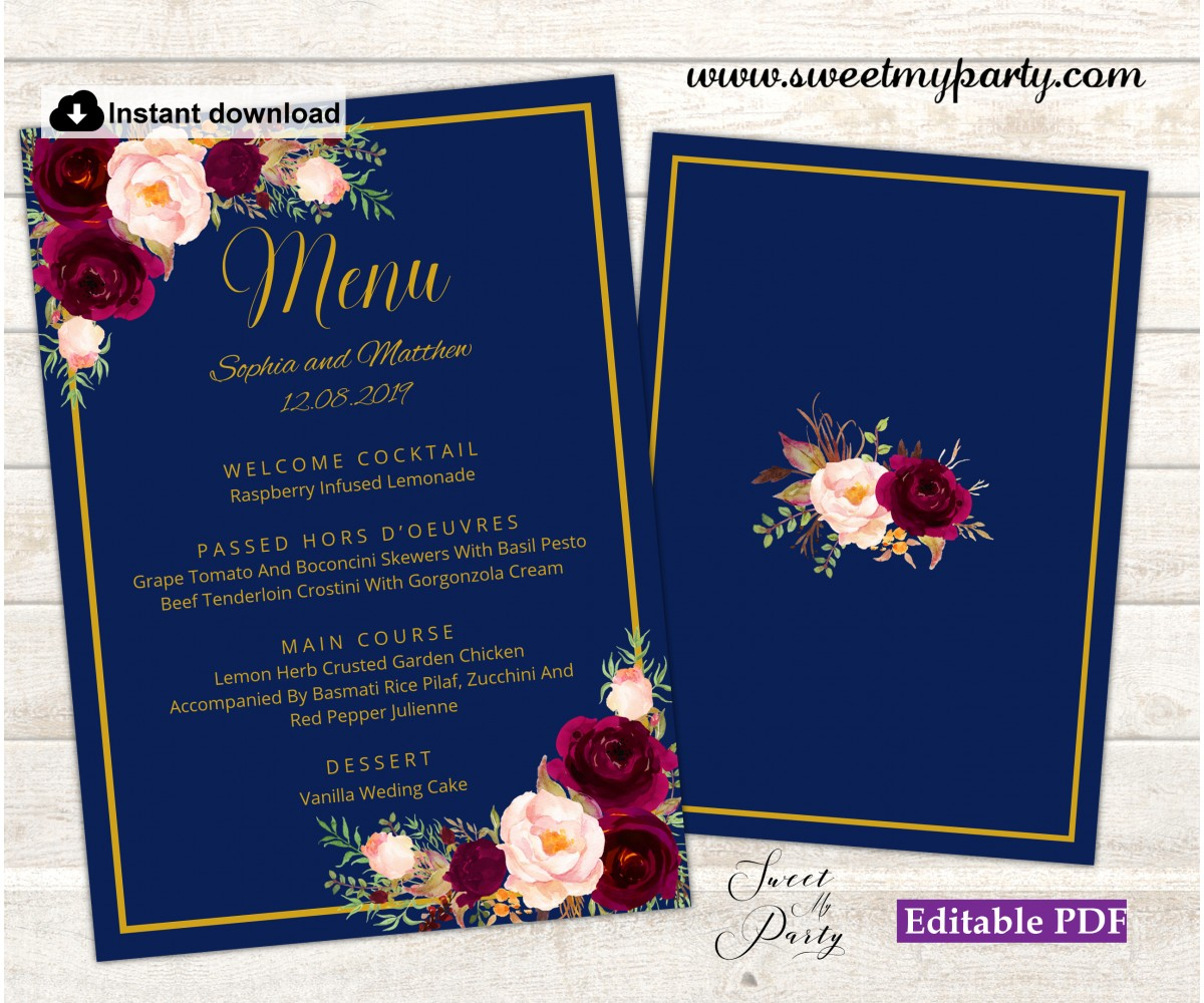 Navy burgundy menu card template,Navy burgundy menus,(147w)