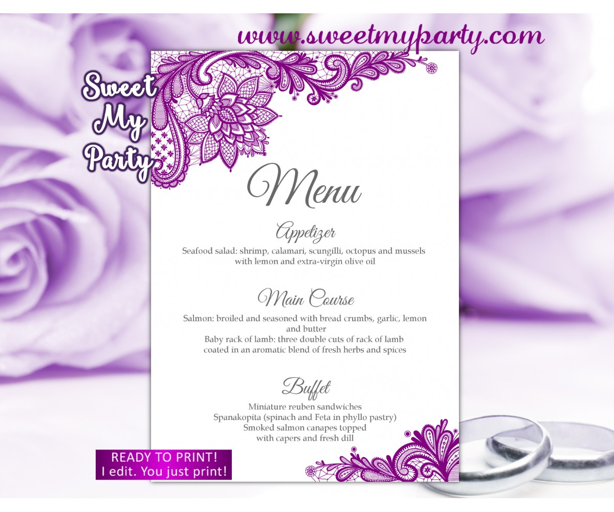Purple menu card, Lace menu card,(115w)