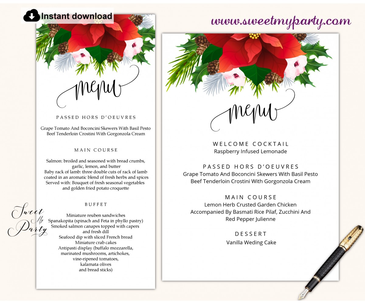Wedding Menu Reception Menu Editable Wedding Menu Template Printable Wedding Menu Menu Card Modern BH18 Wedding Menu Template