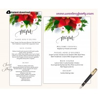 Winter Wedding menu cards printable template,(154)