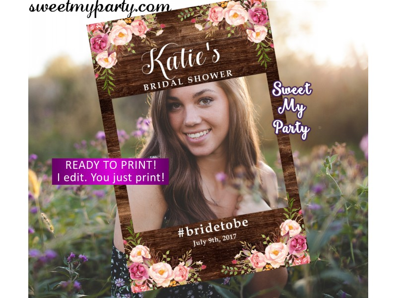 Floral rustic Wedding photo booth props frame|Floral rustic Bridal ...