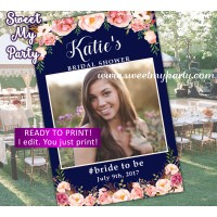Navy photo booth frame,Nay blush Bridal Shower photo booth props frame,Floral Baby shower photo frame,(design 036w)